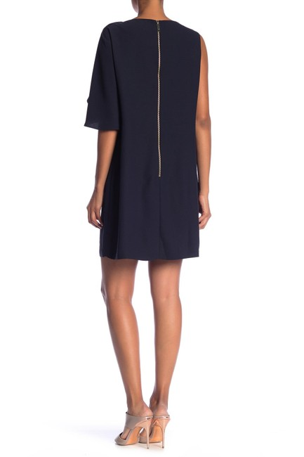 Item - Blue Dark Corat Draped Bow Shoulder Tunic Mid-length Night Out Dress Size 6 (S)