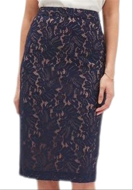 Item - Navy and Nude Lace Pencil Skirt Size 8 (M, 29, 30)