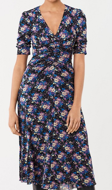 Item - Black Bouquets Floral Dvf Korean Mesh Midi 13320dvf Mid-length Casual Maxi Dress Size 00 (XXS)