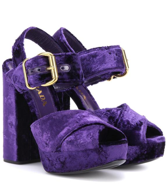 Item - Purple Velvet Plateau Sandals Size EU 36.5 (Approx. US 6.5) Regular (M, B)