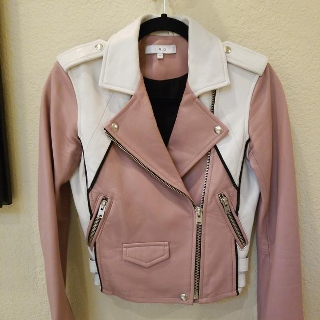 Item - Pink and White Cropped Leather Jacket Size 0 (XS)