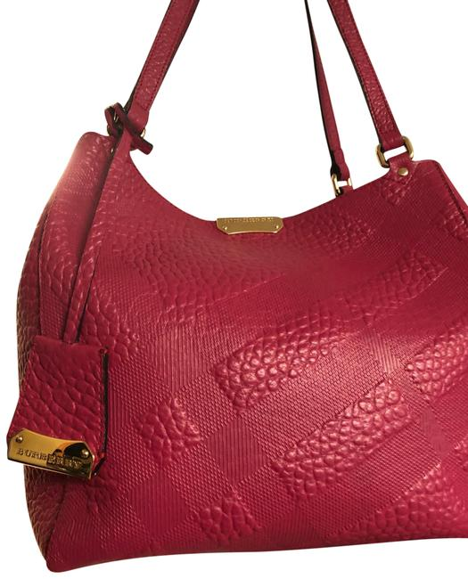 Item - Embossed Checked Canterbury Pink Leather Tote