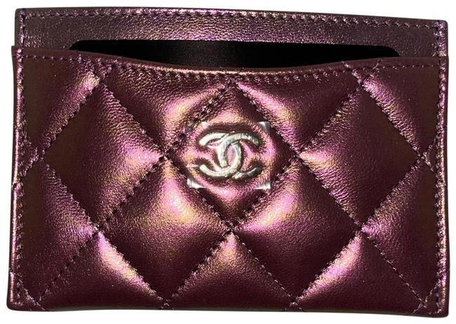 Item - Iridescent Purple Classic Quilted Card Holder Wallet