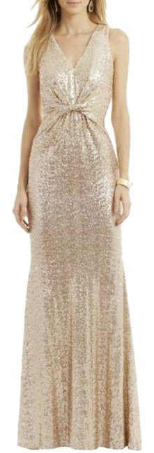 Item - Gold Sequins Twist Champagne Color Silver It Out Long Casual Maxi Dress Size 8 (M)