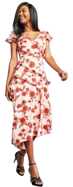 Item - Pink Red Floral Floral Winding Ruffles Fit & Flare Asymmetrical High Low Mid-length Cocktail Dress Size 2 (XS)