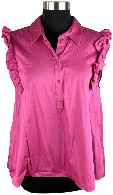 Item - Pink Ruffled Sleeves Popover Blouse Size 12 (L)