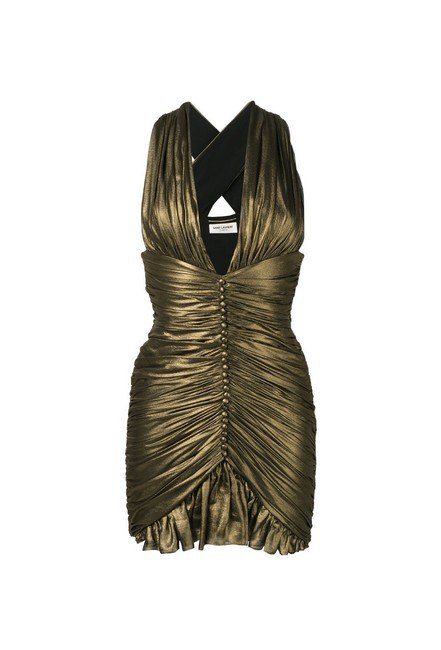 Item - Gold Gathered In Crepe Chiffon Short Casual Dress Size 8 (M)