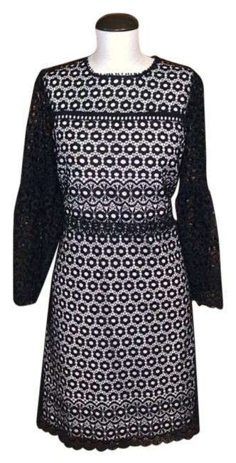 Item - Black Floral Ls with Nude Liner Mid-length Cocktail Dress Size 8 (M)