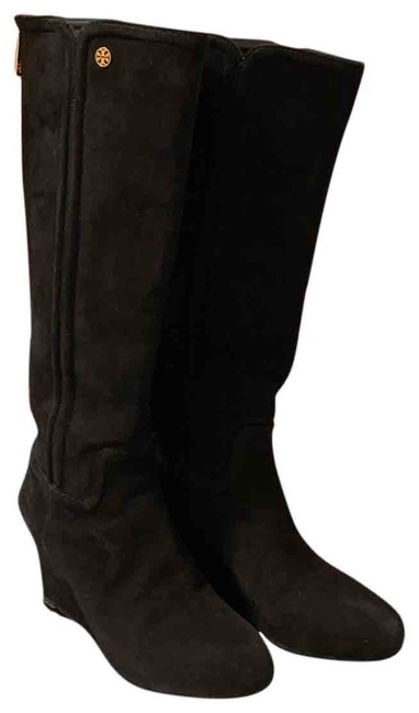 Item - Black Wedge Suede Boots/Booties Size US 7 Regular (M, B)