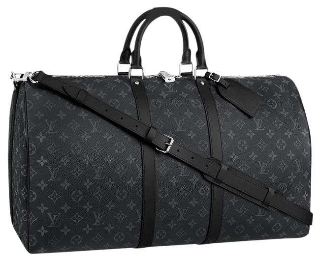 Item - Keepall Eclipse Print Monogram Bandouliere 55 Black Canvas Weekend/Travel Bag