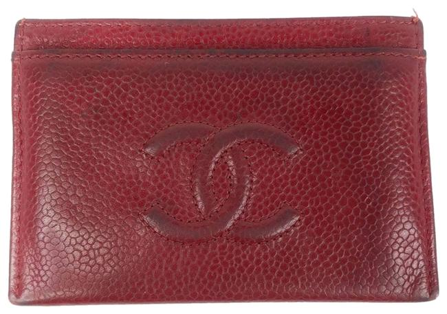 Item - Red Caviar Leather Card Holder Wallet