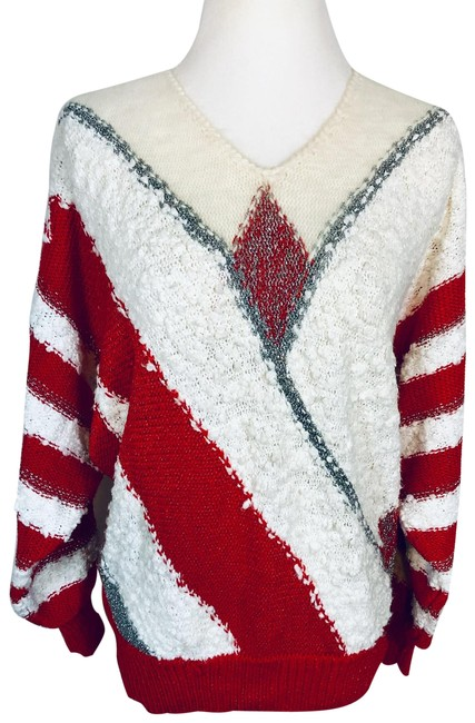 Item - Angenie Ugly Christmas Angora Blend Red White Silver Sweater