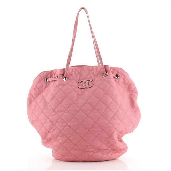 Item - Drawstring Cocomark Tote Quilted Caviar Pink Leather Hobo Bag