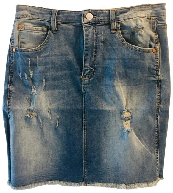 """Item - Blue New Stone Washed Jean 18""""long. Skirt Size 8 (M, 29, 30)"""