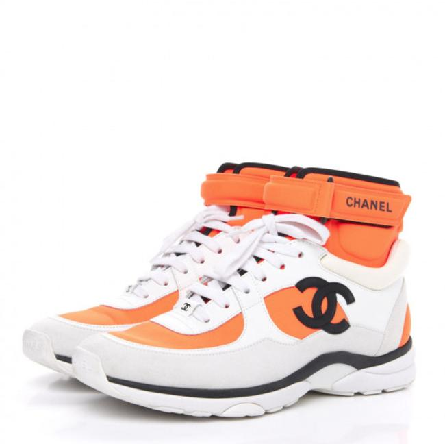 Item - Orange Suede Calfskin Lambskin Neoprene High Top Cc White Sneakers Size EU 40 (Approx. US 10) Regular (M, B)