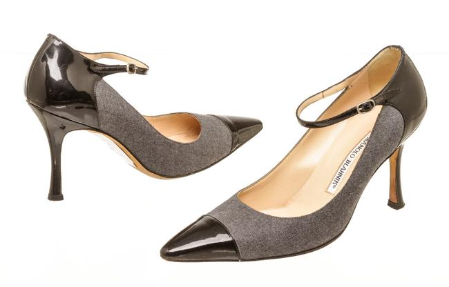 Item - Black and Gray Rc 502468 Fabric Leather Pointed Heels Pumps Size EU 38.5 (Approx. US 8.5) Regular (M, B)