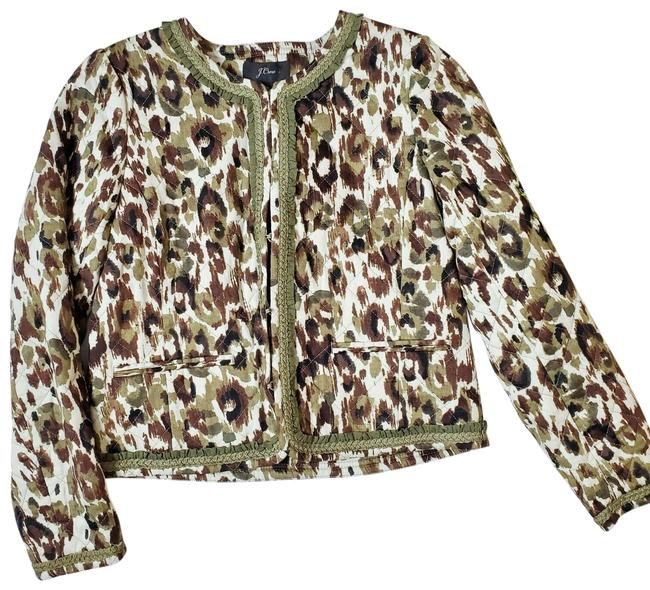 Item - Green Quilted Lady Coat Autumn Cheetah Print Blazer Size 2 (XS)