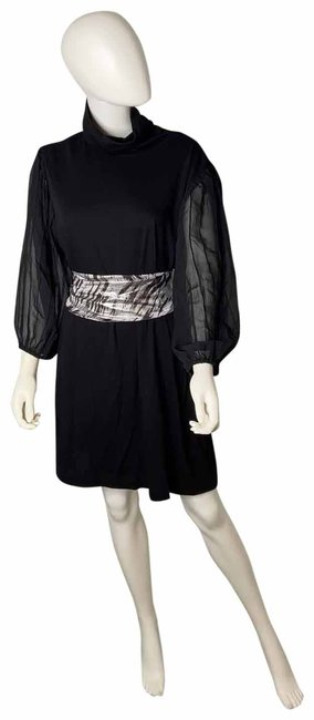 Item - Black & Silver Sheer Sleeves Short Night Out Dress Size 22 (Plus 2x)