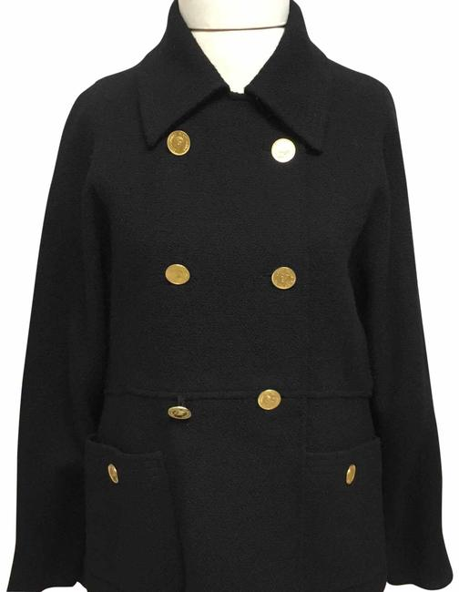 Item - Black Tweed with Gold Coin Buttons Skirt Suit Size 6 (S)