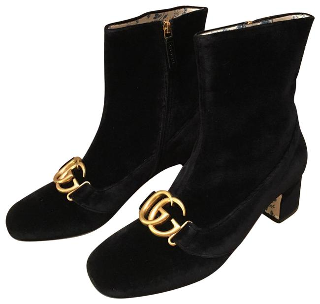 Item - Marmont Black 525332 Gg Velvet Leather Ankle Boots/Booties Size EU 42 (Approx. US 12) Regular (M, B)