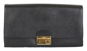 Prada Saffiano Flap Nero Black Clutch