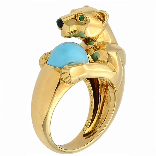Cartier 18k Yellow Gold Vintage Panthere Turquoise Onyx and Emerald Size 52 Ring Cartier 18k Yellow Gold Vintage Panthere Turquoise Onyx and Emerald Size 52 Ring Image 1