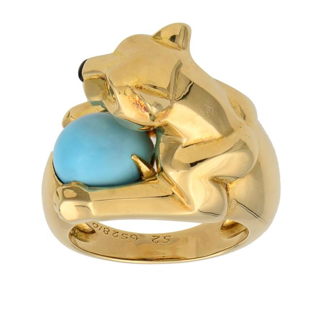 Cartier 18k Yellow Gold Vintage Panthere Turquoise Onyx and Emerald Size 52 Ring Cartier 18k Yellow Gold Vintage Panthere Turquoise Onyx and Emerald Size 52 Ring Image 2