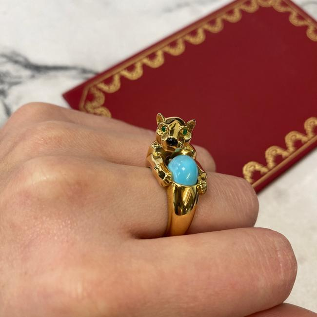Cartier 18k Yellow Gold Vintage Panthere Turquoise Onyx and Emerald Size 52 Ring Cartier 18k Yellow Gold Vintage Panthere Turquoise Onyx and Emerald Size 52 Ring Image 11