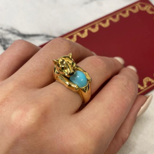Cartier 18k Yellow Gold Vintage Panthere Turquoise Onyx and Emerald Size 52 Ring Cartier 18k Yellow Gold Vintage Panthere Turquoise Onyx and Emerald Size 52 Ring Image 12