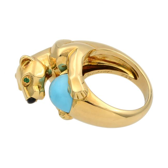 Cartier 18k Yellow Gold Vintage Panthere Turquoise Onyx and Emerald Size 52 Ring Cartier 18k Yellow Gold Vintage Panthere Turquoise Onyx and Emerald Size 52 Ring Image 4