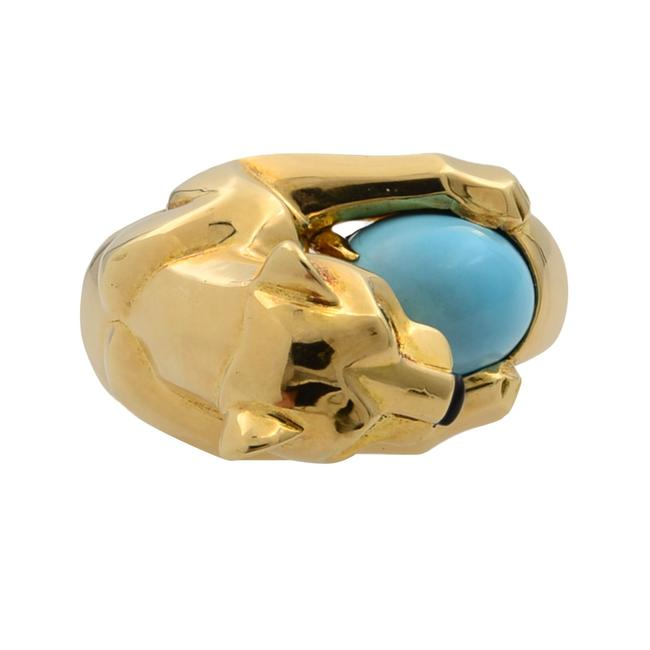 Cartier 18k Yellow Gold Vintage Panthere Turquoise Onyx and Emerald Size 52 Ring Cartier 18k Yellow Gold Vintage Panthere Turquoise Onyx and Emerald Size 52 Ring Image 5