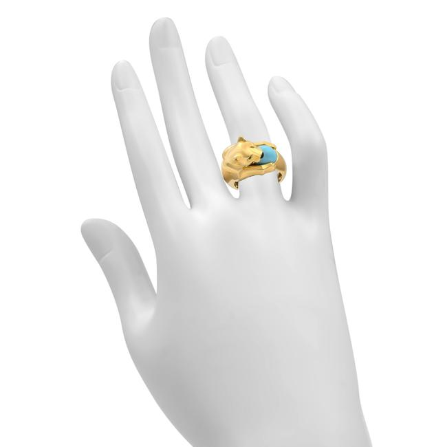 Cartier 18k Yellow Gold Vintage Panthere Turquoise Onyx and Emerald Size 52 Ring Cartier 18k Yellow Gold Vintage Panthere Turquoise Onyx and Emerald Size 52 Ring Image 6