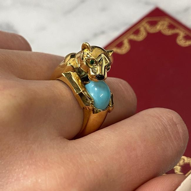Cartier 18k Yellow Gold Vintage Panthere Turquoise Onyx and Emerald Size 52 Ring Cartier 18k Yellow Gold Vintage Panthere Turquoise Onyx and Emerald Size 52 Ring Image 8