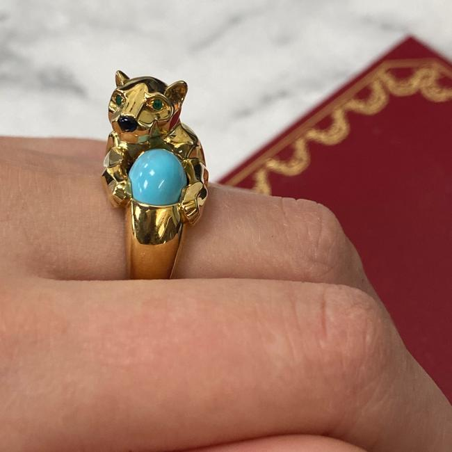 Cartier 18k Yellow Gold Vintage Panthere Turquoise Onyx and Emerald Size 52 Ring Cartier 18k Yellow Gold Vintage Panthere Turquoise Onyx and Emerald Size 52 Ring Image 9
