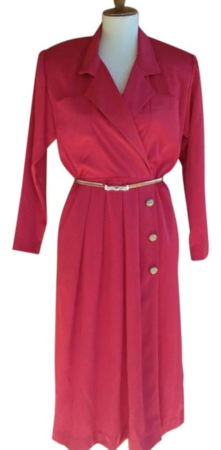 Item - Red Vintage Wrap Mid-length Work/Office Dress Size 6 (S)
