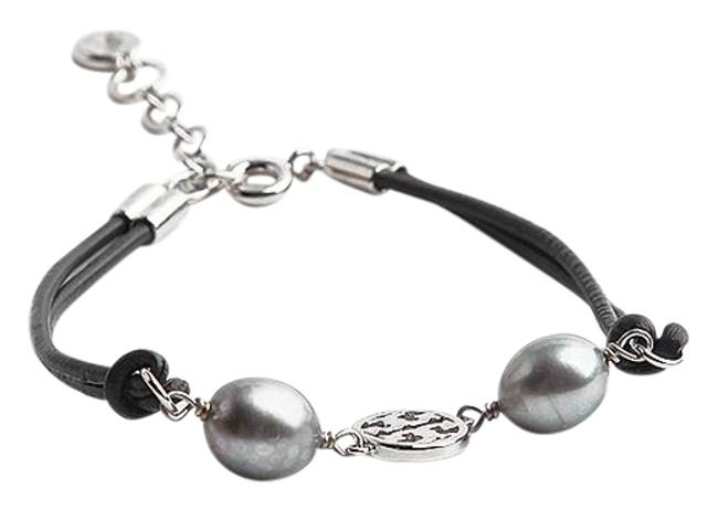 Item - Gray New Miller Pearl Cultured Pearls Leather Silver Bracelet