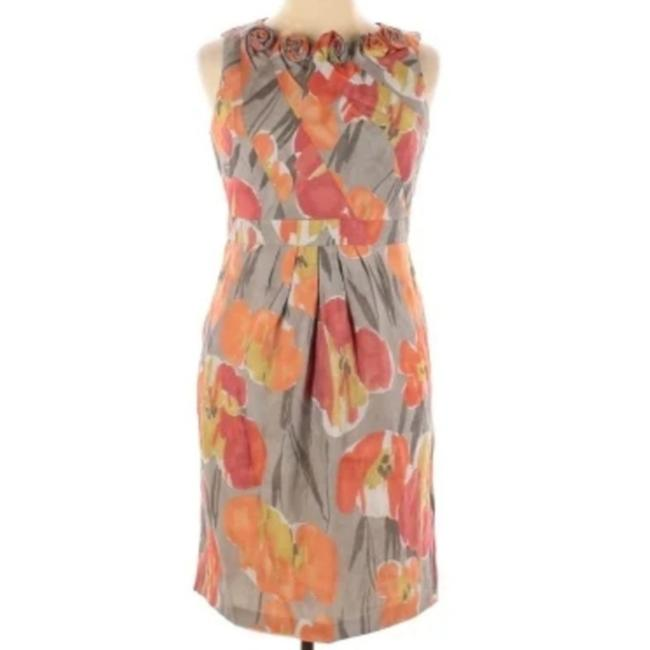 Item - Orange Gray Floral Rosette Detail Sheath Short Cocktail Dress Size 14 (L)