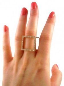 Other Gold Crystal Cube Ring