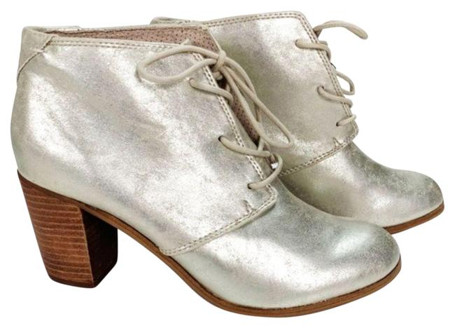Item - Gold 9 Lunata Lace Up Metallic Ankle Stacked Heel Boots/Booties Size US 8 Regular (M, B)