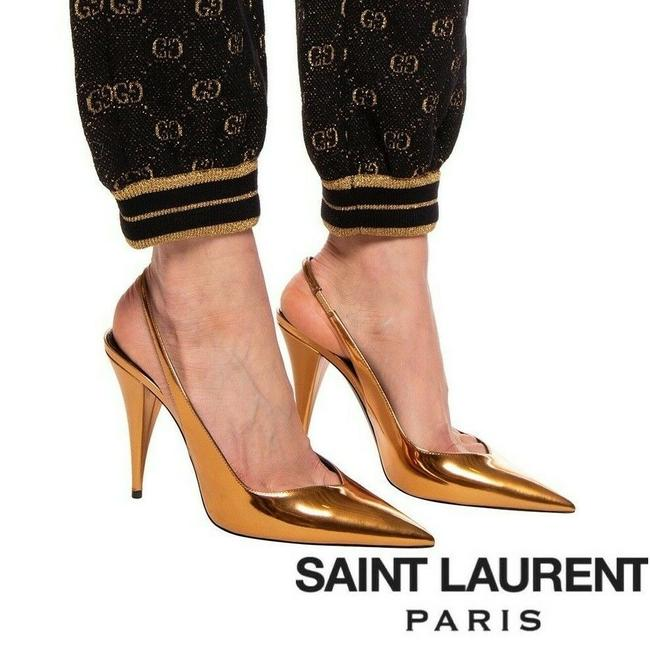 Item - Gold Ysl Kiki Heel Slingback Pointed Toe Mirrored Egypt Pumps Size US 8.5 Regular (M, B)