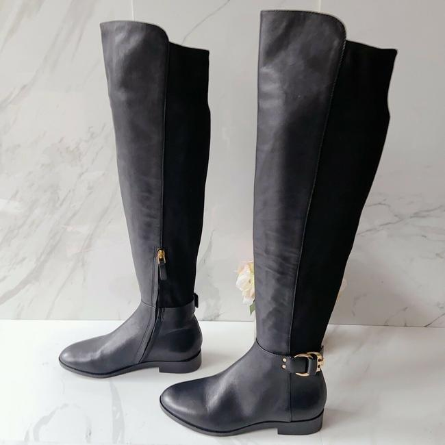 Item - Black T Marsden Over The Knee Stretch Riding Flat Logo Boots/Booties Size US 5 Regular (M, B)