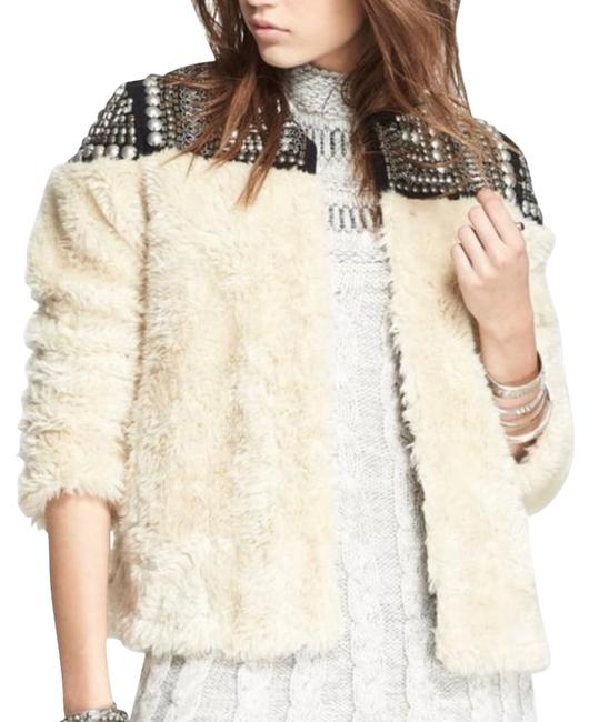 Item - Cream and Black Faux Fur Embellished Jacket Coat Size 14 (L)