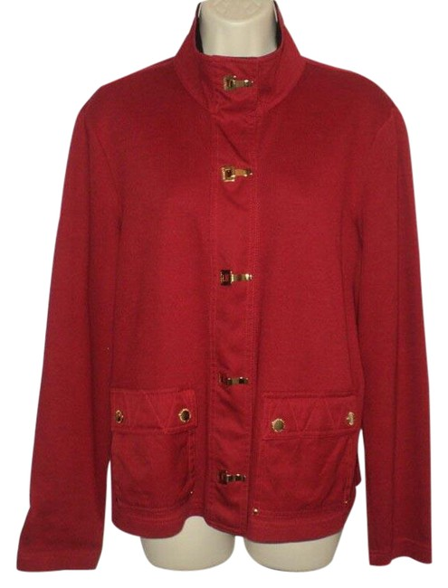 Item - Dark Red Sweater Jacket Gold Clasp Closures Long Sleeves Cardigan Size 14 (L)