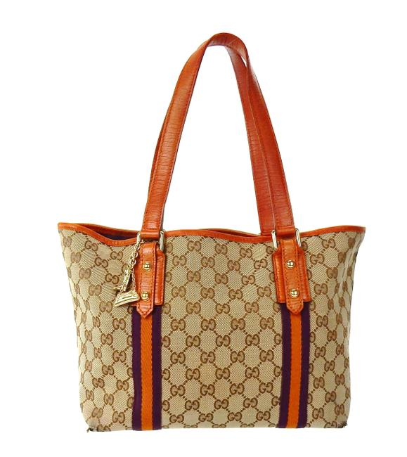 Item - Small Jolicouer Brown and Orange Canvas Shoulder Bag