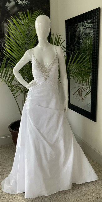 Alfred Angelo White Polyester Gown Rhinestone Embellished By - Traditional Wedding Dress Size 18 (XL, Plus 0x) Alfred Angelo White Polyester Gown Rhinestone Embellished By - Traditional Wedding Dress Size 18 (XL, Plus 0x) Image 1