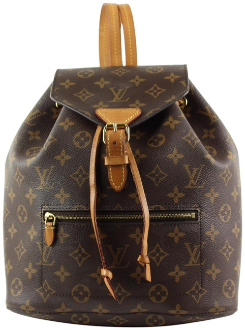 Item - Moyen Montsouris Monogram Pm 862437 Brown Coated Canvas Backpack