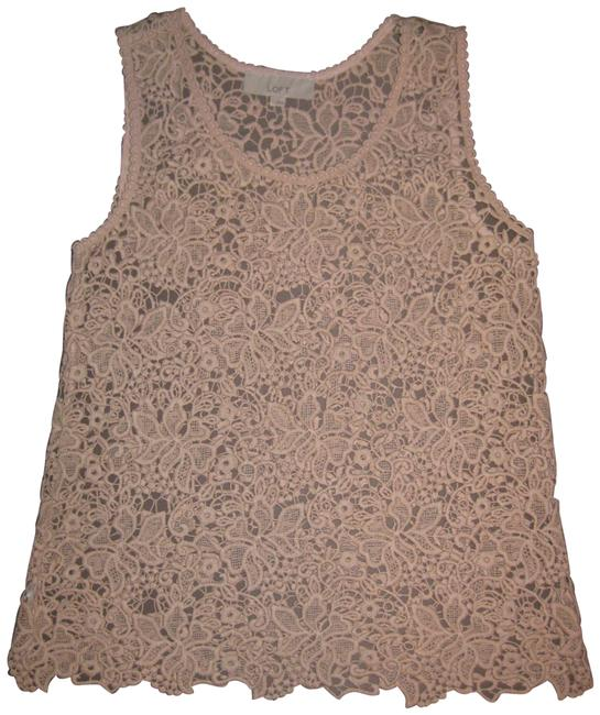 Item - Beige Crochet Floral Lace Relaxed Fit Tank Top/Cami Size 6 (S)