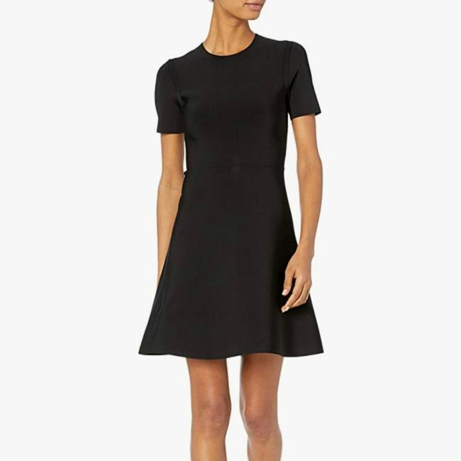 Item - Black Stretch Skater Intarsia Fit & Flare Little Short Casual Dress Size 0 (XS)