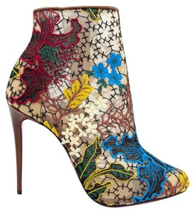 Item - Multicolor Miss Tennis 100 Brown Leather Embroidered Lace Ankle Pumps Boots/Booties