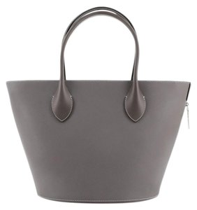 Item - Holdall Veau Satin Pm Gray Leather Tote